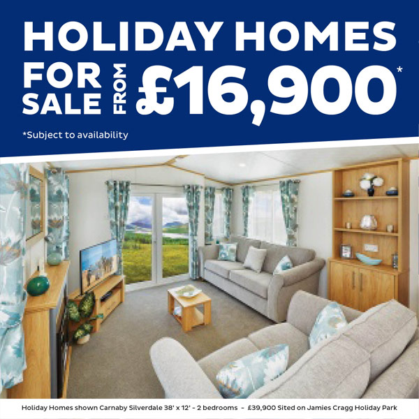 Holiday homes for sale from £16,900. Subject to availabilty and chosen holiday park. Holiday homes shown Carnaby Silverdale 38' x 12' - 2 bedrooms - £39,900, Sited on Jamies Cragg Holiday Park