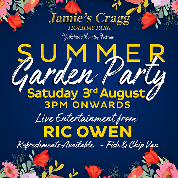 Summer Garden Party Saturday 3rd August, 3PM onwards. Live entertainment from Ric Owen. Refreshments available - Fish & chip van.